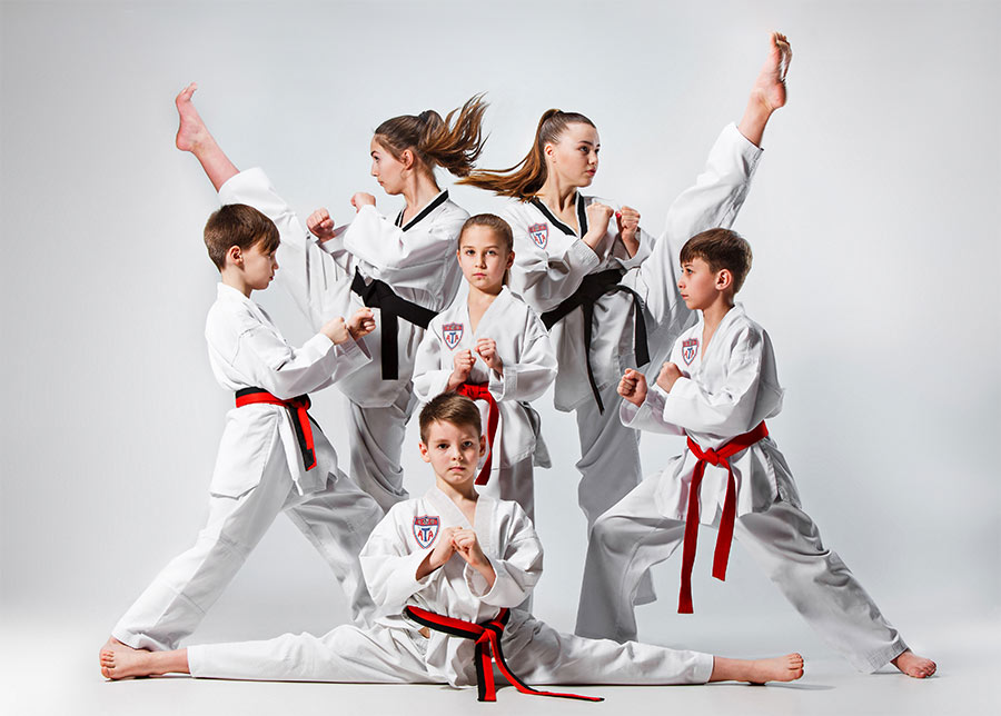 ATA Taekwondo students posing together for picture.