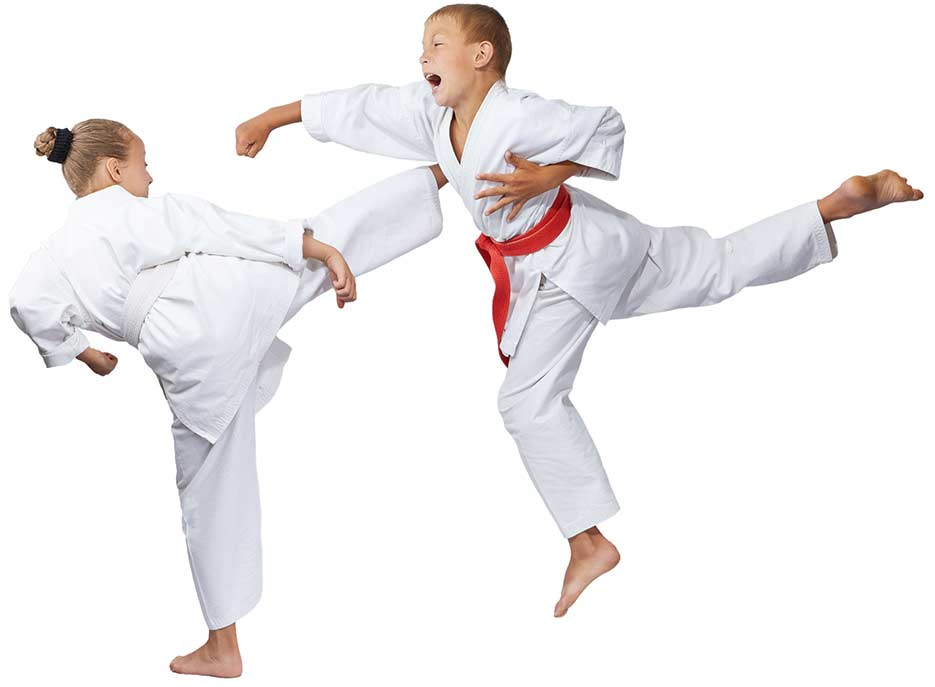 Kids kicking and punching together